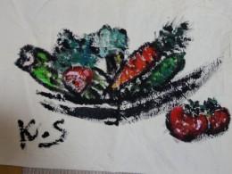 野菜盛り合わせ。墨とアクリル絵の具