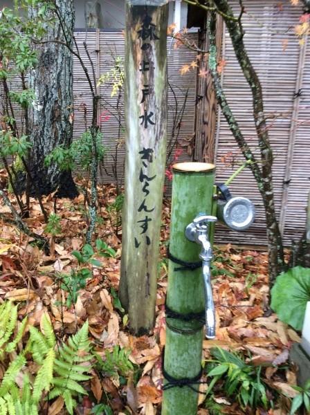 森の井戸水、きんらんすい。美味しい水でした。