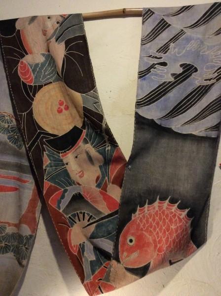 恵比寿大黒、鯛の筒描き、祝い節句旗を飾りました。おめでたい。
