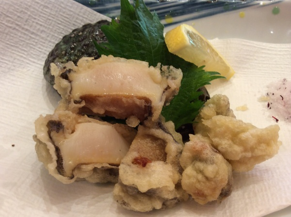 アワビの天ぷら。柔らかくて美味しかった!