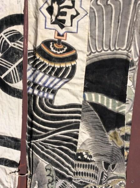 江戸期の幟ですが、大きな袋に縫い直されていました。