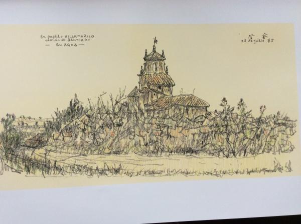 藤井哲画伯。 サンチャゴの道。 教会の素描。