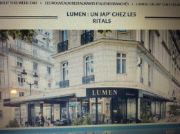 レストラン ルーメン Restaurant  Lumen 15 rue des pyramides 75001 (juste en face de Junkudo) 01 44 50 77 07 ルーブル美術館ガラスのピタミット近く