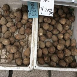 朝市で里芋4キロ買いました。ここの里芋は美味しいと評判。 水の綺麗な土地の里芋はすごく美味しいのです。