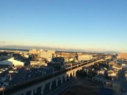 ホテルからの眺め。 下に近鉄が走っている。