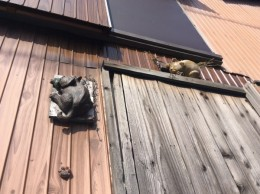 ネコの焼き物が壁に。
