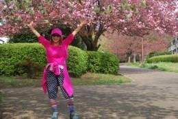 桜の季節は、コスチュームもピンクです。 カモフラージュ。