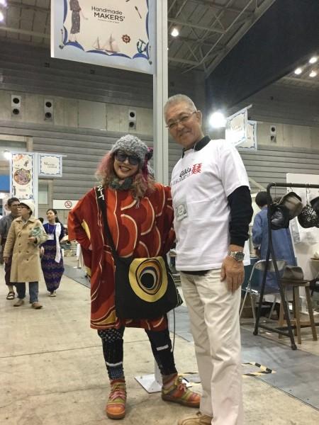 横浜ギルダの会長さんと。 捺染の時は、非常に親身になって頂きました。