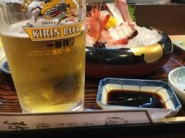 生ビールで一人乾杯‼️