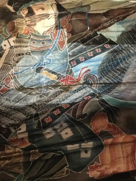 6メートル✖️4メートルもある大きなフラフでした。 壇之浦の戦い。 那須与一がゆ身を引く絵柄。