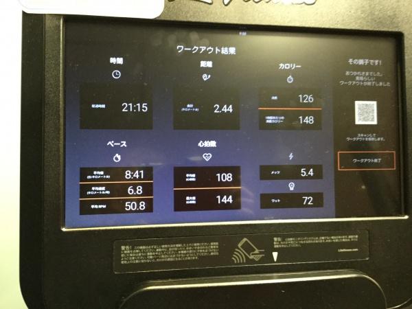 ジムで有酸素運動。 何時もは30分ですが、今日は20分にしておきました。 それでも汗びっしょり。