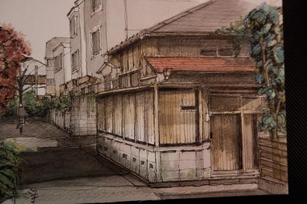 京都を旅した時。建築家だったので、デッサンも土台がしっかりしていました。