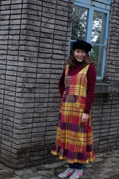 昭和初期の布団皮から、ジャンパースカート。 90年前の物にしてはモダンですね。