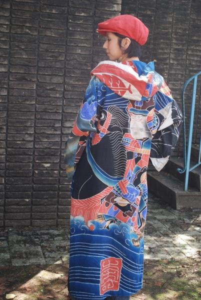筒描祝節句旗・川中島模様(12-99)後ろ