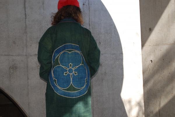 緑藍筒描っきコート(14-3)