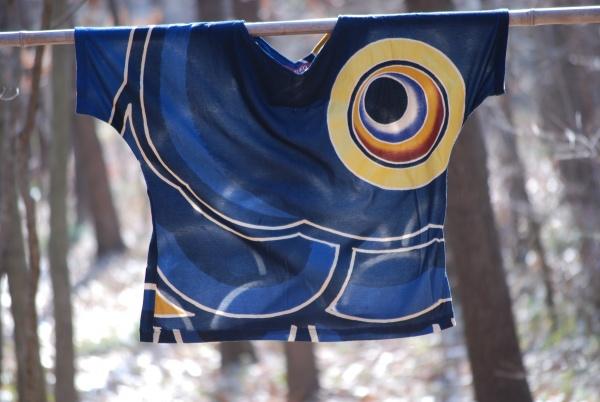 ブラウス 藍色カットソー 0243