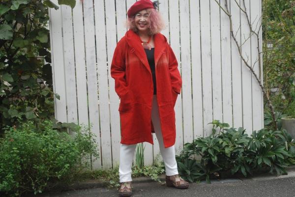 18-71紅花染めフード safflower dyeing